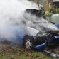 Auto vliegt in brand na botsing tegen lantaarnpalen en boom