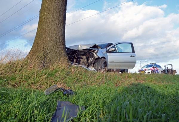 Auto knalt tegen boom, bestuurder gewond
